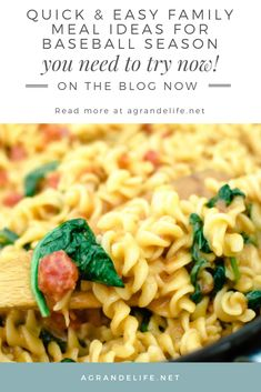 Creamy Tomato & Spinach One Pot Pasta - A Grande Life Easy Family Meals, Easy Meals, Italian Appetizers, Creole Recipes, One Pot Pasta, Dinner Ideas, Meal Ideas, Popular Recipes, Clean Eating Snacks