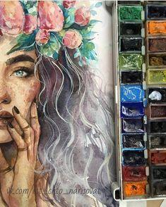 Its too perfect talent! art watercolor art, art drawings u Art Inspo, Inspiration Art, Bel Art, Art Amour, Arte Sketchbook, Watercolor Illustration, Landscape Illustration, Watercolour Drawings, Watercolor Portraits