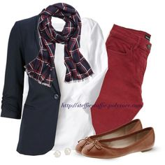 A fashion look from October 2014 featuring blazer jacket, The Kooples and flat shoes. Browse and shop related looks. Colored Jeans Outfits, Old Navy Outfits, Jean Outfits, Colored Pants, Casual Friday Outfit, Casual Outfits, Cute Outfits, Life Size Barbie, Preppy Style