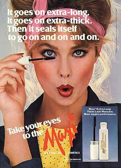 this mascara targeted women ranging from the ages of teen years to later years it goes along with the motif of status and image in the
