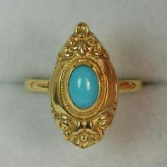 A superb Victorian design ladies ring. Set with a single oval turquoise stone with gold surround. 11mm x 20mm head. Looks unworn. Crisp design. Well set stone. Marked 333. FREE Auctiva Image Hosting. | eBay!