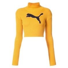 Fenty X Puma cropped logo turtleneck jumper ❤ liked on Polyvore featuring tops, sweaters, turtle neck crop top, cropped sweater, crop tops, yellow crop top and sport sweaters
