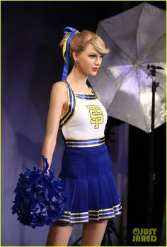 "Taylor Swift just got a brand new wax figure at the London-based Madame Tussauds and it is modeled after her ""Shake It Off"" video's cheerleader look! Description from justjared.com. I searched for this on bing.com/images"
