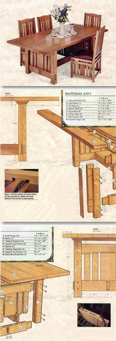 Arts and Crafts Dining Table Plans - Furniture Plans and Projects | WoodArchivist.com