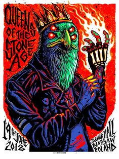 Munk One Queens of the Stone Age Warsaw Poster Tour Posters, Band Posters, Music Posters, Retro Posters, Arte Punk, Stone Age, Rock Art, Oeuvre D'art, Les Oeuvres