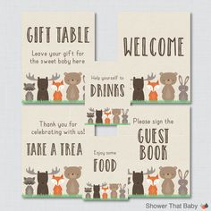 Printable Woodland Baby Shower Table Signs SIX Signs Welcome Sign - http://www.babydecorations.net/printable-woodland-baby-shower-table-signs-six-signs-welcome-sign/