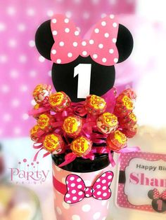 Minnie Mouse birthday party centerpiece! See more party planning ideas at CatchMyParty.com!