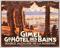 1905 Grand Hotel des Bains in Gimel, around Geneva lake in Switzerland,Swiss vintage travel poster