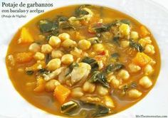 Potaje de garbanzos con bacalao y acelgas - MisThermorecetas.com Fish Recipes, Soup Recipes, Vegetarian Recipes, Easy Cooking, Cooking Recipes, Bette, Spanish Dishes, Small Meals, Middle Eastern Recipes