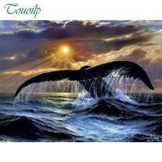 "WHALES AT SUNSET SCENIC LARGE BOX CANVAS FRAMED 30/""x20/"""