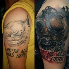 Steampunk cover up tattoo - Wish you can change only a part of your old tattoo? Well here, the only covered up part was the Cheshire cat tattoo