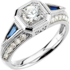 Jewels as rare as the woman who wears TheJewelryHut Fancy Designer Antique Retro. Vintage Style Diamonds (Semi-Mount) and Blue Sapphire in 14 KT White Gold Bridal Engagement Ring Featuring 24 Genuine Blinding White Brilliant Round Shape, 1/2 CTTW, Accented by Two Tapered Baguette Shape Genuine Blue Sapphire Gemstone; and Sold together with A Coordinating Diamonds in 14 KT White Gold Wedding Band Featuring 23 Genuine Blinding White Brilliant Round Shape Diamonds, 1/6 CTTW.  On Sale…
