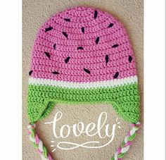 Crochet watermelon hat  hooked on Layla  Hey, I found this really awesome Etsy listing at https://www.etsy.com/listing/209364130/crochet-watermelon-hat-hand-made