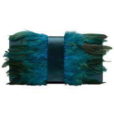 Olga Berg Green Feather Satin Clutch