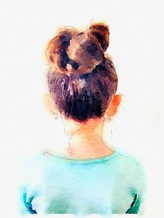 """DIY Top Knot Print.  There's an """"app for that"""", lol.  It takes regular photos and makes them into watercolors.  Sooo many things this could be used for to create great wall art!"""