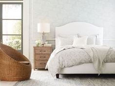 The Macie bed features a tightly upholstered headboard for a soft, sleek look with tapered walnut legs. Quality Furniture, Custom Furniture, Bedroom Furniture, Home Furniture, Stanley Furniture, Bedding Master Bedroom, Upholstered Beds, New Living Room, Queen Beds