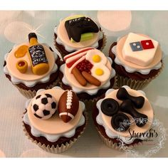 Teacher Cupcakes, Beer Cupcakes, Fathers Day Cupcakes, Cupcakes For Men, Football Cupcakes, Fathers Day Cake, Fun Cupcakes, Birthday Cupcakes, Churros