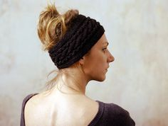 Black Knitted Headband Ear Warmer Cable knit Ear by mareshop, $18.00
