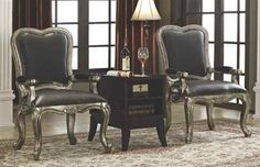 2 Eula Grey Wood Fabric Accent Chairs