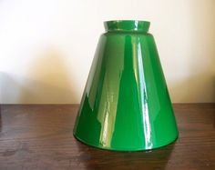 Vintage style kerosene glass lamp shade or by simplyattictreasures green glass lamp shade cone shape cased glass vianne by goodandold 2000 aloadofball Image collections