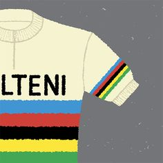 detail from our Eddy Merckx, Rainbow Jersey Print