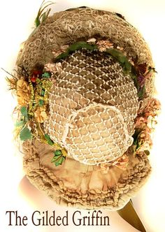 View of the back of Antique Bonnet. Entirely original.