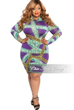 23644396cb1d New Plus Size Long Sleeves Money Design BodyCon Dress with Maze Print – Chic  And Curvy
