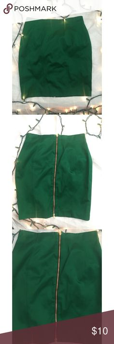 H&M Green Pencil Skirt Sexy Green skirt with gold zipper on the rear. Size 10. H&M Skirts Pencil