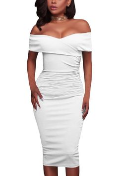 ffc4f120616 White Ruched Off Shoulder Bodycon Formal Midi Dress