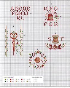 alfabet met schaartje - kruissteekpatroon