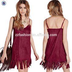 Fringes Summer Dresses 2015 For Women Warm Red Spaghetti Strap Custom Printing Design