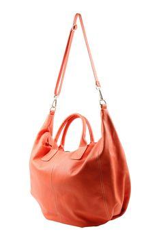 slouchy Leather Bag #tangerine-yummy!