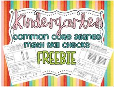 Kindergarten Common Core Super Freebie! 22 CC aligned math skill checks!