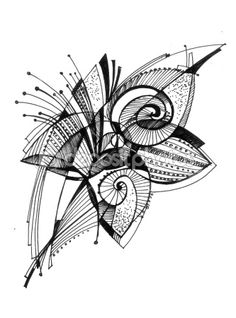 Image of 'Abstract drawing black ink with unusual spiral structure' on Colourbox 3d Drawings, Abstract Drawings, Animal Drawings, Drawing Sketches, Line Drawing, Painting & Drawing, Motifs Organiques, Flowers Illustration, Tangle Art