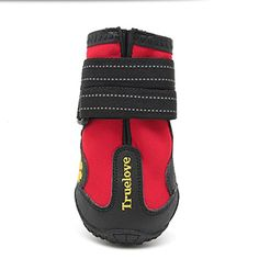 Fosinz Waterproof Dog Boots with Reflective Velcro AntiSlip Shoes Protect Paws 420 Red -- Read more reviews of the product by visiting the link on the image.