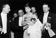 Maria Callas after her debut concert in Paris, 1958.