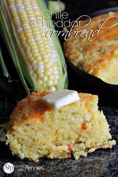 Chile Cheddar Cornbread!  Our favorite light fluffy cornbread recipe!!