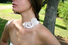 White Bridal Lace Silver Shoulder Necklace - Adjustable