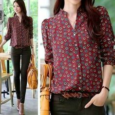 New Autumn Women Long Sleeve Chiffon Button Down Shirt Casual Career Blouse Tops Cool Outfits, Casual Outfits, Fashion Outfits, Womens Fashion, Women Button Down Shirt, Office Outfits, Work Fashion, Corsage, Casual Chic
