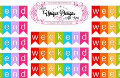 Weekend Stickers- Bright colors, Rainbows, for any planner - Happy Planner, Erin Condren, Plum Paper, Filo, ECLLP, Customization available - pinned by pin4etsy.com
