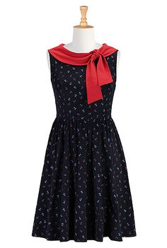 Colorblock collar anchor print dress - I had it custom sized and lengthened to below the knee