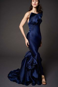 Choc Navy Blue One Shoulder Evening Gown wit a Touch of Ruffles by Zac Posen, Look #5