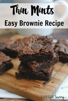 This simple to make Thin Mints Brownie Recipe combines two of our favorite things and makes an amazing sweet treat. Take your Girl Scout Thin Mint Cookies to the next level with Thin Mints Brownies. A yummy dessert.