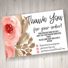 PRINTED Thank you Cards for Small Business 60 count by HeathersHello on Etsy Thank You Card Sayings, Print Thank You Cards, Thank You Card Design, Small Business Quotes, Small Business Cards, Business Stickers, Etsy Business, Craft Business, Business Card Design