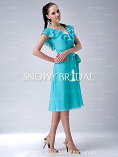 Teal Knee Length Chiffon V-Neck A-Line Cap Sleeve Bridesmaid Dress - US$82.99 - Style B0854 - Snowy Bridal