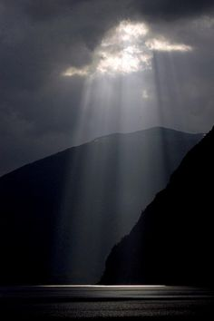 """Light of God"" on the fjords of Norway"
