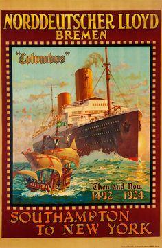 bremen TRAVEL POSTER fritz kuck germany 1937 24X36 SHIP BOUND FOR NEW YORK