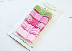 Newborn Clips / Infant Snap Clips / Girls Hair Clips / FIVE Pink White n Green  Infant Cips / Baby First Bow No Slip Hair Clippies/ Toddler