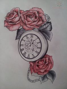 Clock Tattoo Drawings | Clock And Red Roses Tattoo design