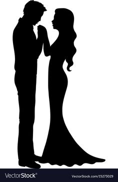 Wedding silhouette vector image on VectorStock Man And Woman Silhouette, Bride And Groom Silhouette, Couple Silhouette, Wedding Silhouette, Silhouette Clip Art, Silhouette Portrait, Silhouette Design, Kissing Hand, Wedding Illustration